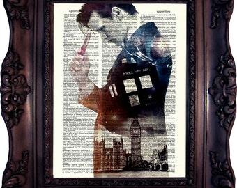 Dr Who Print on book page. Matt Smith. Poster. Tardis print. 11. doctor. Dictionary Art Print. Tardis Art print. Dictionary art.  Code:535