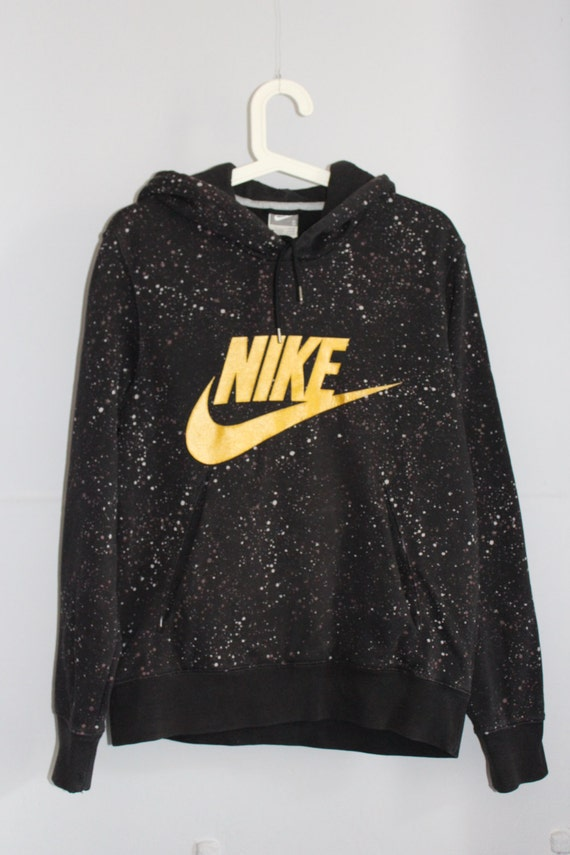 original nike hoodie splatter splash paint black gold