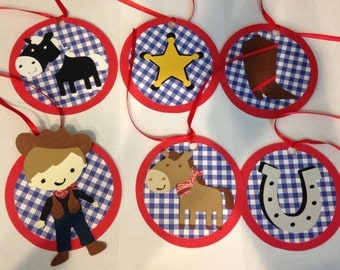 12 Cowboy themed favor tags