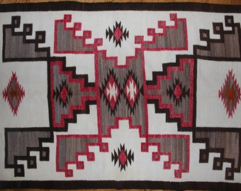 97. Old Navajo Crystal Rug with Double Storm Design