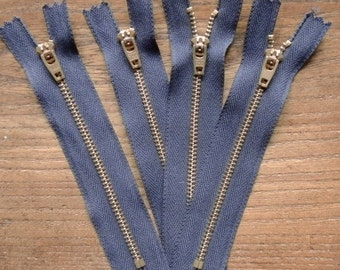 "Four Dark Blue Vintage 5 1/4"" / 13.5cm YKK Heavy Duty Zips / Zippers with Metal Teeth and Pull"