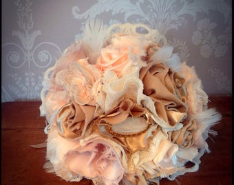 Fabric wedding bouquet - handmade- shabby chic - vintage style