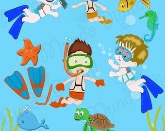 10 Snorkeling Digital Clip Art for Scrapbooking Card Making Cupcake Toppers Paper Crafts