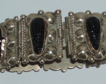1940's Bracelet Silver Obsidian Alpaca Eagle Mark Mexico . Aztec Bracelet .  Mexico Silver Bracelet . Bracelet . Mexican Silver . Bracelet .