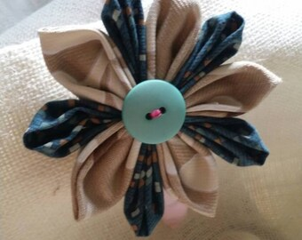 Blue & Tan Flower Headband