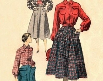 Advance 5614 Dandy Jacket-Blouse & Skirt / ca. 1950 / SZ11 FACTORY FOLDS