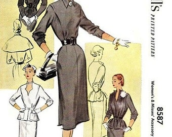 "McCall's 8587 Exclusively Yours ""Accessory"" Dress 1951 / SZ16 UNCUT"