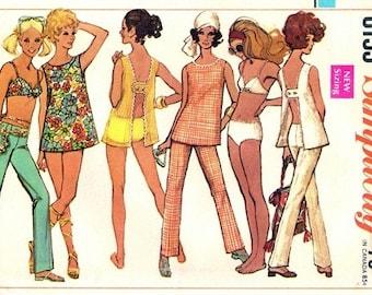 Simplicity 8153 Sassy Top, Pants & Bathing Suit 1969 / SZ10 UNCUT