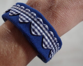 Fabric Bracelet, blue and white heart ribon. flexible metal frame