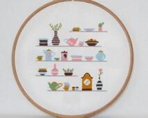 Kitchen Shelves Cross Stitch pattern-cups, clock, plants, teapots, boxes, PDF, instant download