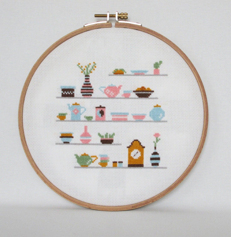 Kitchen shelves cross stitch pattern cups clock plants for Cross stitch kitchen designs