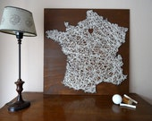 "France map on wood with wool with heart on Paris | 25.6""x25.6"" - 65x65cm 
