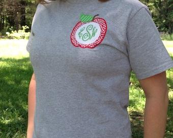 Women's Teacher Apple Monogram Applique TShirt
