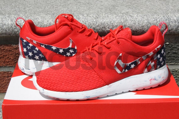 brand new b1126 ef441 Nike Roshe Run Red Marble American Flag Pride Print Custom ...