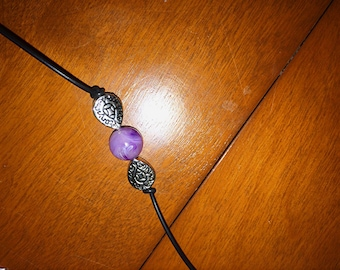 Purple and silver beaded leather choker