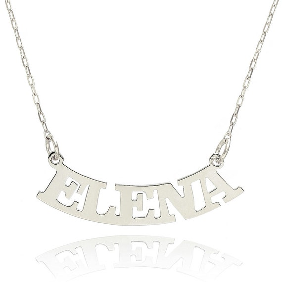14k white gold personalized curved name necklace custom made