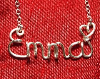 Name Necklace,Emma necklace,NPersonalized wedding jewelery,Birthday gift,Bridesmaid necklace,Custom Name necklace