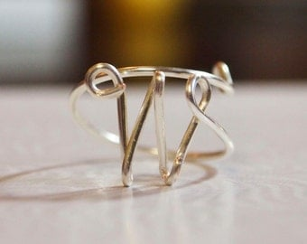 "initial ""W"" wire wrapped ring"