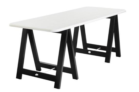 White Top Black Legs Trestle Table Desk Dining