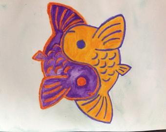 Orange & Purple Yin-Yang Koi Fish Watercolor Painting