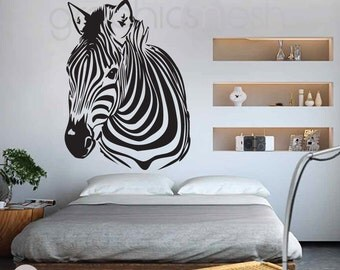 Wall decal ZEBRA HEAD - Interior decor surface graphics by GraphicsMeshs