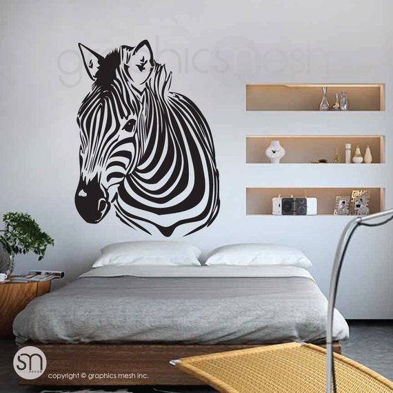 Zebra Head Wall Decor : Wall decal zebra head interior decor surface graphics by