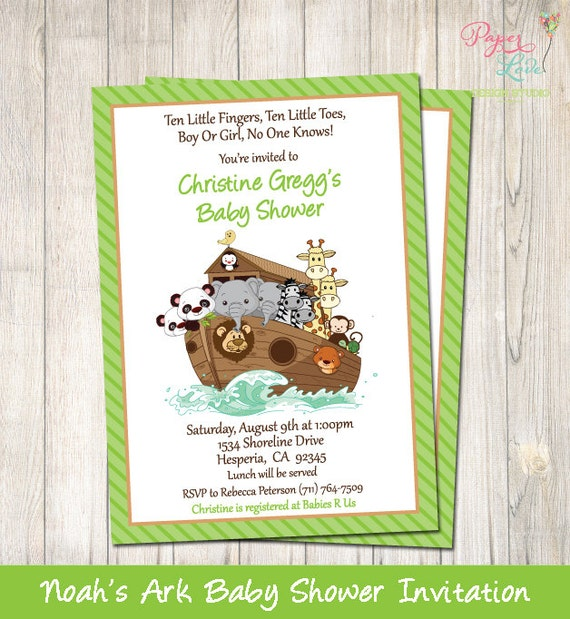 Noah39;s Ark Baby Shower Invitation  Printable