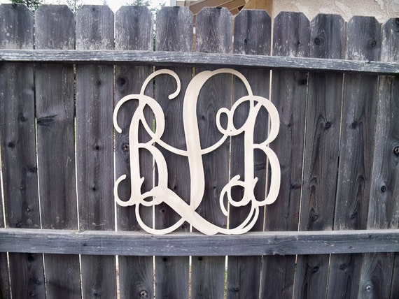 36 inch unfinished connected vine monogram wooden letters for 36 inch wooden letters