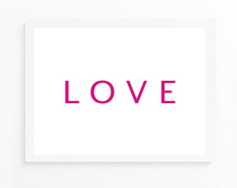 10x8 INSTANT DOWNLOAD Art Print - LOVE in pink