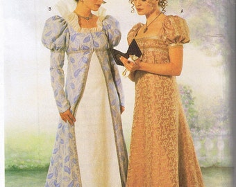 Historical Early 1800s Regency Empire Dress Gown and Coat Jane Austen Costume Sewing Pattern Plus Size 18 20 22