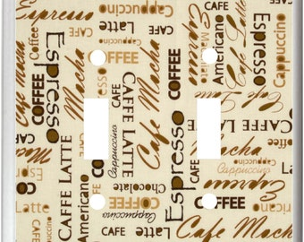 Coffee Words on Tan Background  Latte Mocha Espresso  Light Switch Cover Plate or Outlet   Kitchen  Decor  Free Shipping in U.S.!!!