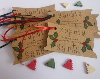 Pack of 10 Handmade Secret Santa Christmas Gift Tags - Available in 5 different patterns.