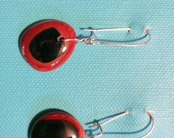 Fused glass dangle earrings  red black