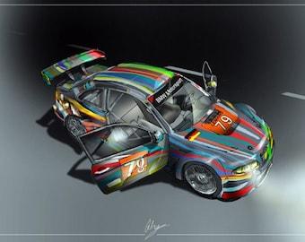 Sportscars TV Classic Racing Cars:  LeMans BMW Art Car    A3 Poster