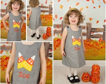 Candy Corn Dress,Halloween Dress,Applique Dress,Black Gingham