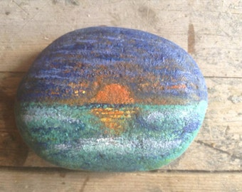 Beach rock..handpainted..from Mexico..sunset beach scene..prayer rock..altar rock..mini art..paperweight...