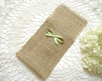 Set of  100 - Burlap Silverware Holder wish green bow and pearl - Table Decor - Rustic Wedding - Wedding Table  - Table Setting