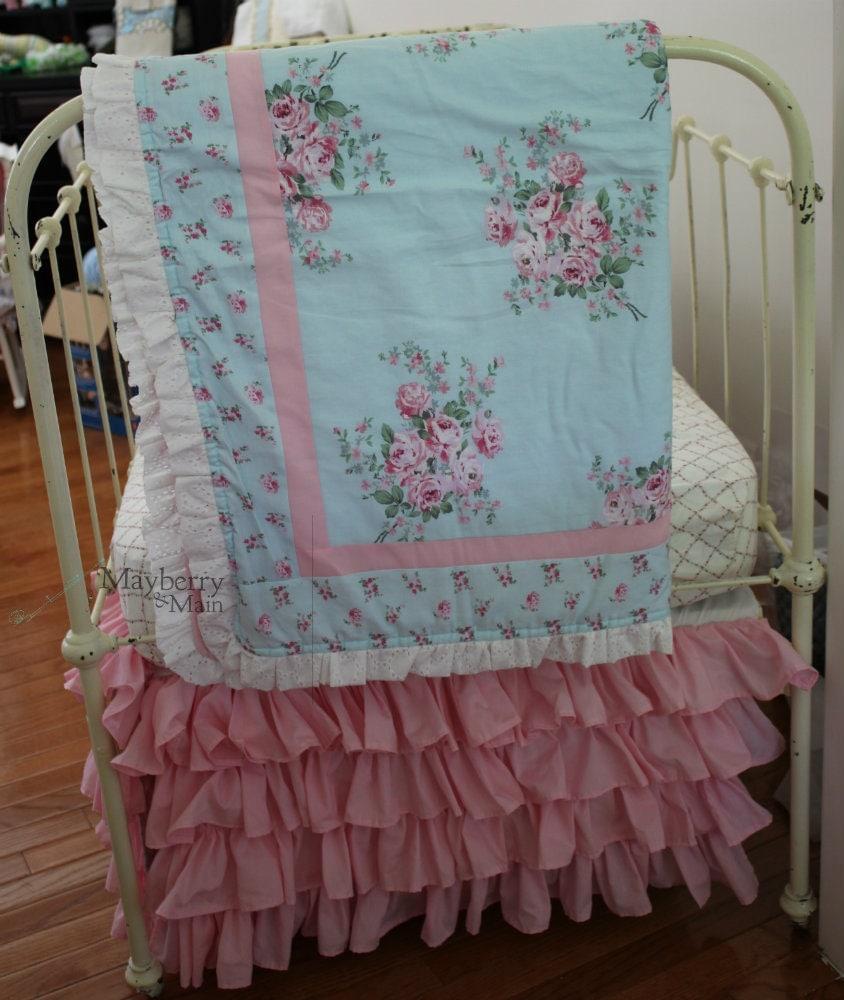 Blue Shabby Rose Chic Crib Bedding by MayberryandMain on Etsy