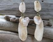Cream Tiered Shell Dangle Earrings