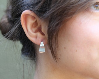 Sterling Silver Curved Triangular Earrings