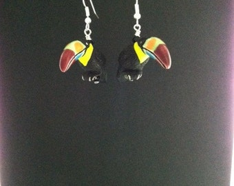 Toucan with Rainbow Beak earrings
