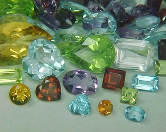 Premium Loose Mixed Semiprecious Faceted Gemstone Parcel Lot  ~ BUY 2 GET 1 FREE #1457.10