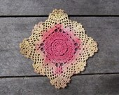 Hand Dyed Crochet Doily - Bright Yellow and Red