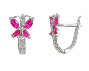 SH713-7 Sterling Silver Butterfly Cubic Zirconia with Ruby 12mm Hinged Hoop Earrings