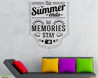 Wall Stickers Vinyl Decal Summer Ends Memories Stays Inspire Message (z2051)