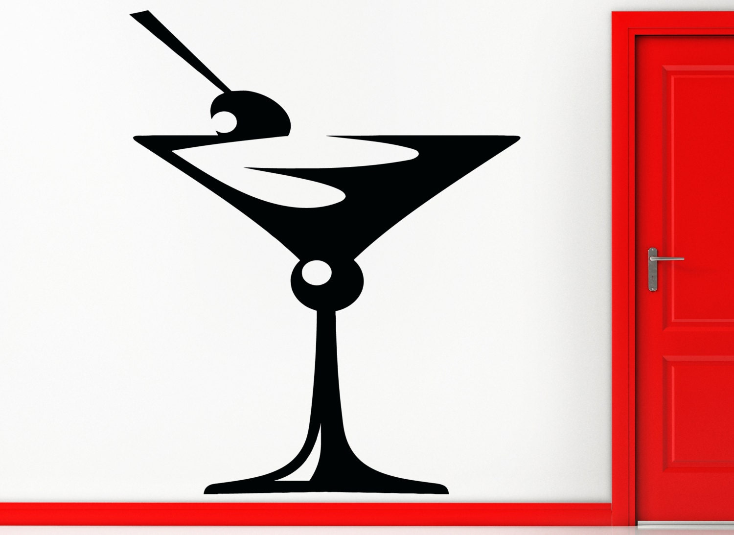 Martini Glass Wall Sconces : Wall Sticker Drink Glass Of Martini Great Decor For Bar Or