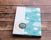 Clouds - Back to school A5 hardcover notebook personalized with a name, personal diary, wrapped with a scrapbooking paper - OOAK!