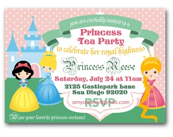 Princess Tea Party Invitation - royal tea birthday party invite customized and personalized - digital file