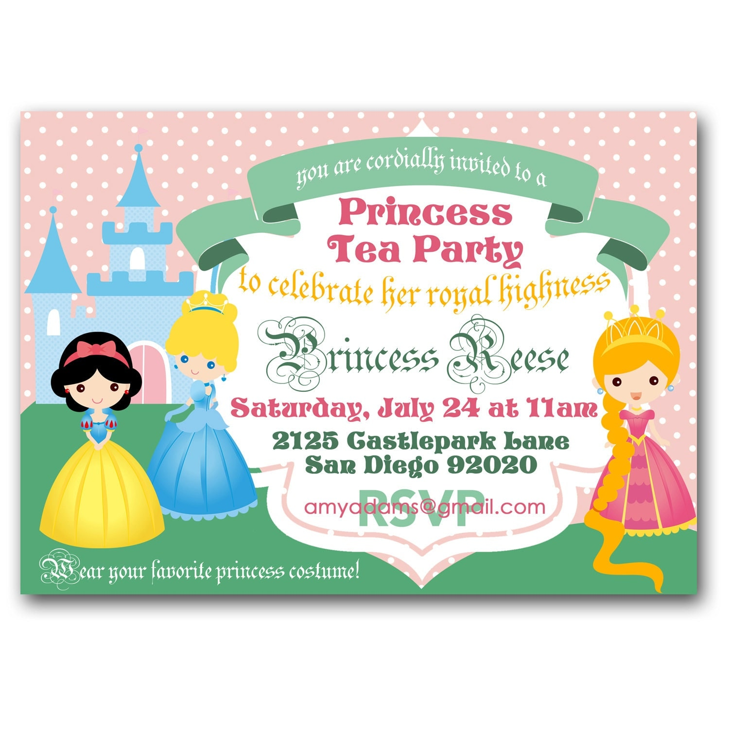 Princess Tea Party Invitation royal tea birthday party – Invite a Princess to Your Party