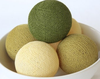 20 Loose Olive Green Cotton Balls NOT INCLUDE String Lights, Patio Party, Outdoor, Fairy, Wedding Lights